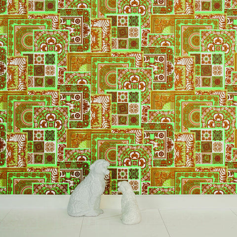 Versace Green and Gold Decoupage Tile Wallpaper