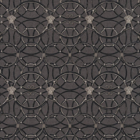 Versace Charcoal Black La Scala Del Palazzo Wallpaper