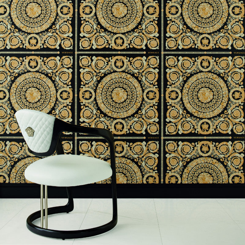 Versace Heritage Black and Gold Tile Wallpaper