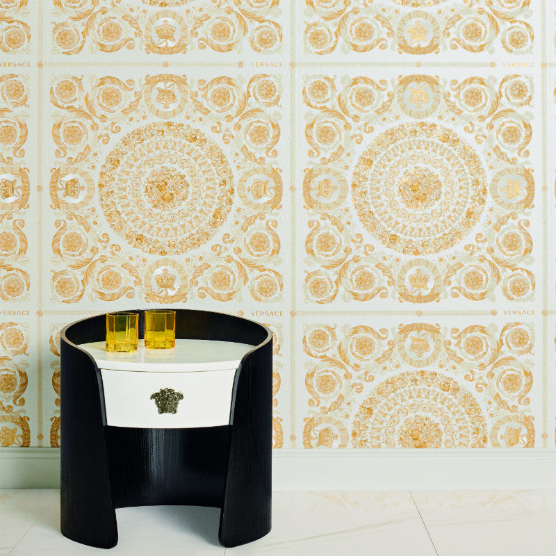 Versace Heritage Cream and Gold Tile Wallpaper