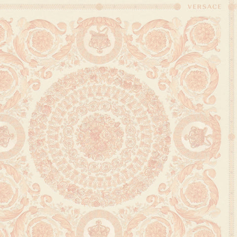 Versace Heritage White and Pink Tile Wallpaper