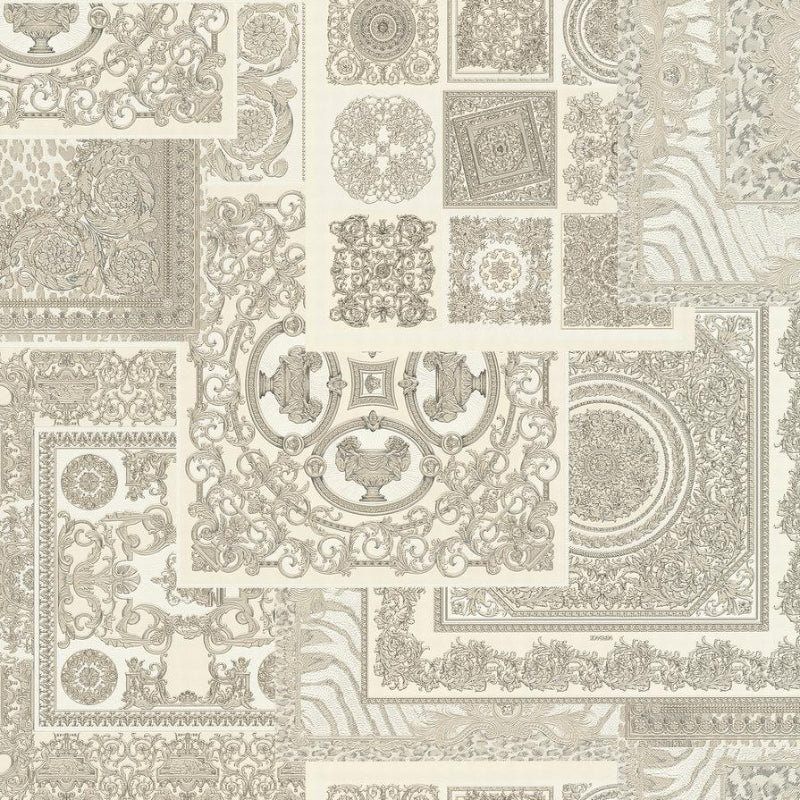 Versace Silver Grey Decoupage Tile Wallpaper