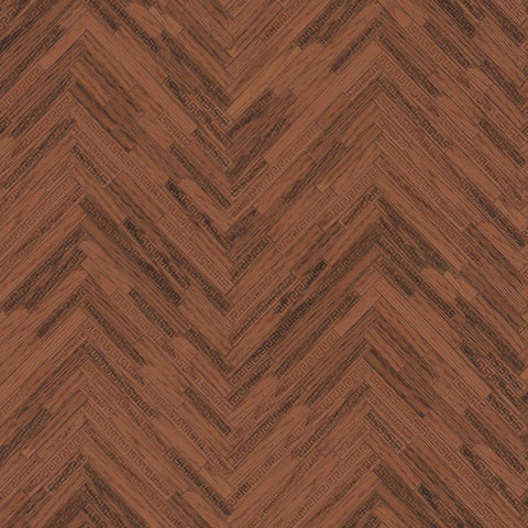 Versace Brown Wood Panel Wallpaper