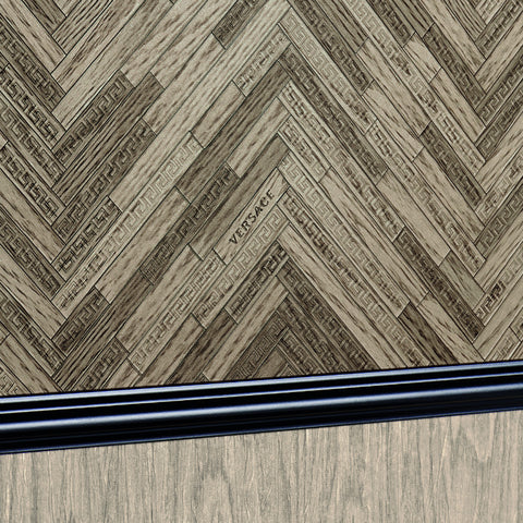 Versace Oak Brown Wood Panel Wallpaper