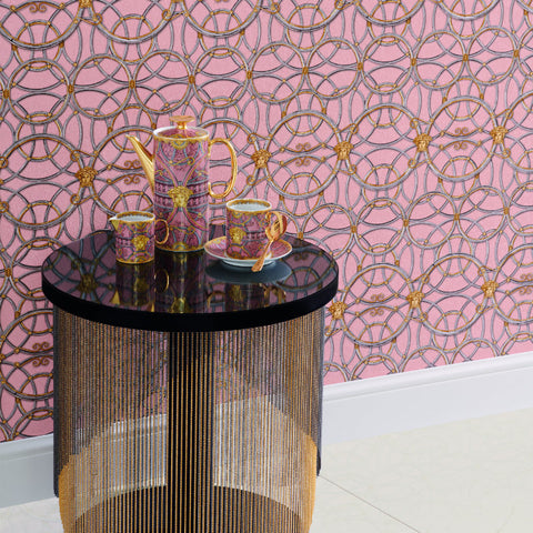 Versace Pink and Grey La Scala Del Palazzo Wallpaper