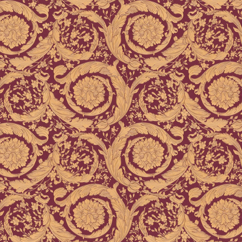 Versace Red and Brown Barocco Wallpaper