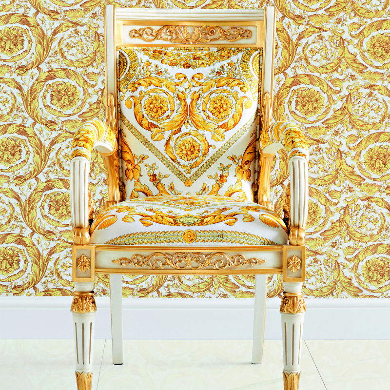 Versace White and Gold Barocco Wallpaper