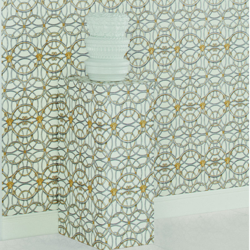 Versace White and Grey La Scala Del Palazzo Wallpaper