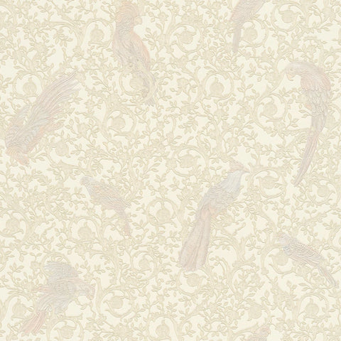 Versace White and Ivory Barocco Birds Wallpaper