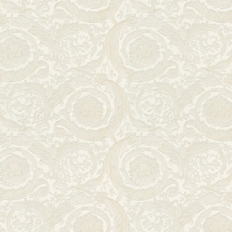 Versace White and Ivory Barocco Wallpaper