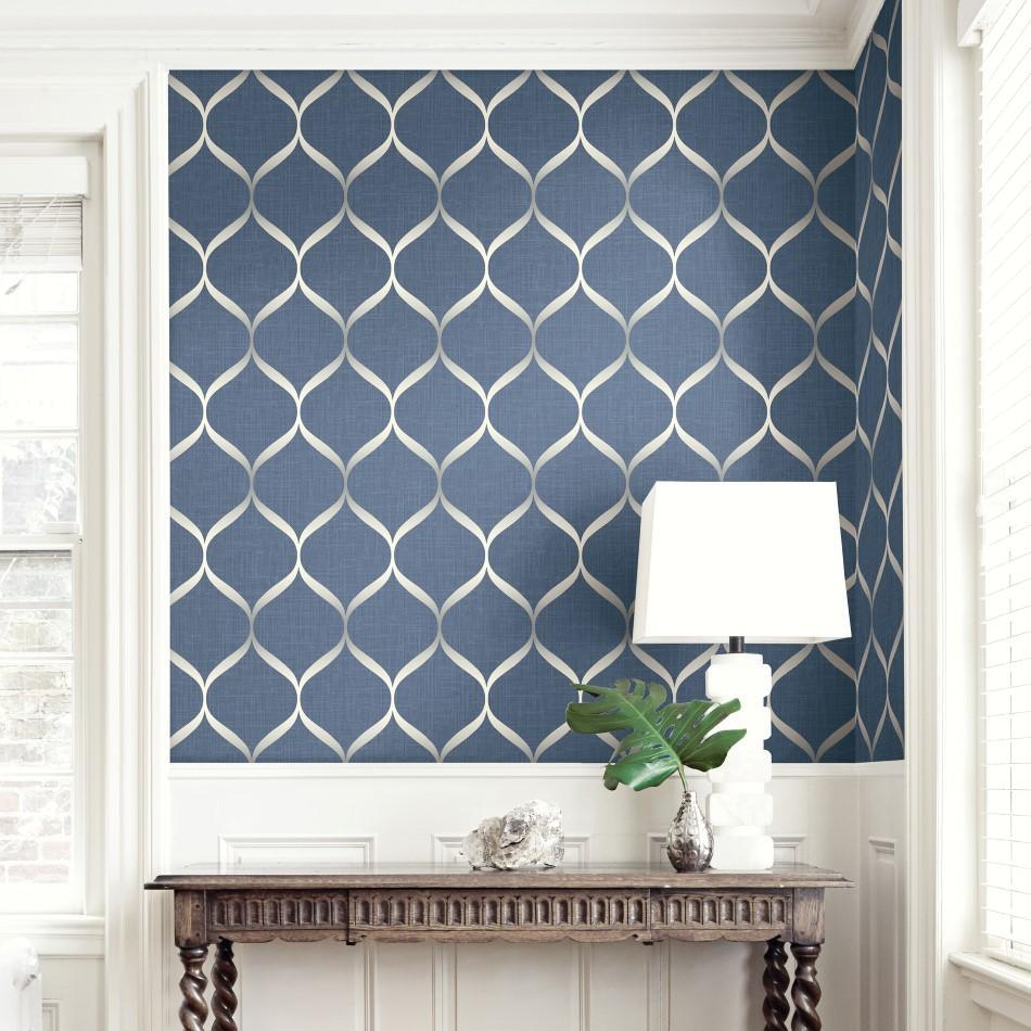 Wallquest Wallpapers Pear Tree Blue / Grey Geometric Trellis Wallpaper