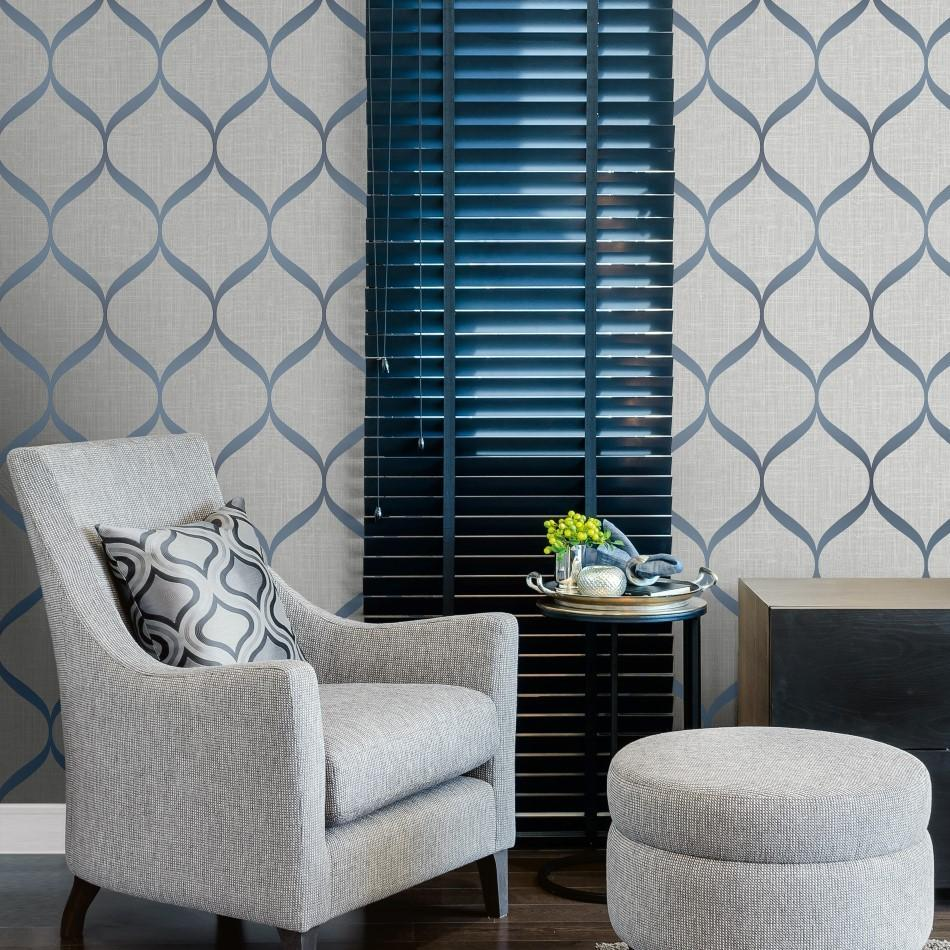 Pear Tree Grey And Blue Geometric Trellis Wallpaper Uk21212
