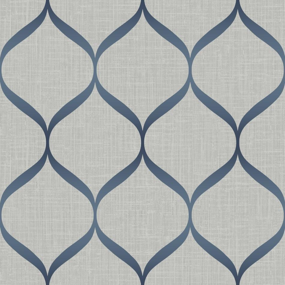 Ice Cream Wallpaper In Soft Blues And Multi From The Dream: Pear Tree Grey And Blue Geometric Trellis Wallpaper UK21212