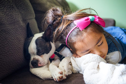 girl sleeping with a puppy