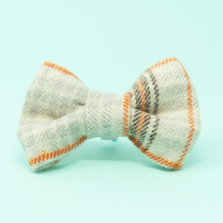 Tan Plaid Dog Bow Tie - The Woof Warehouse