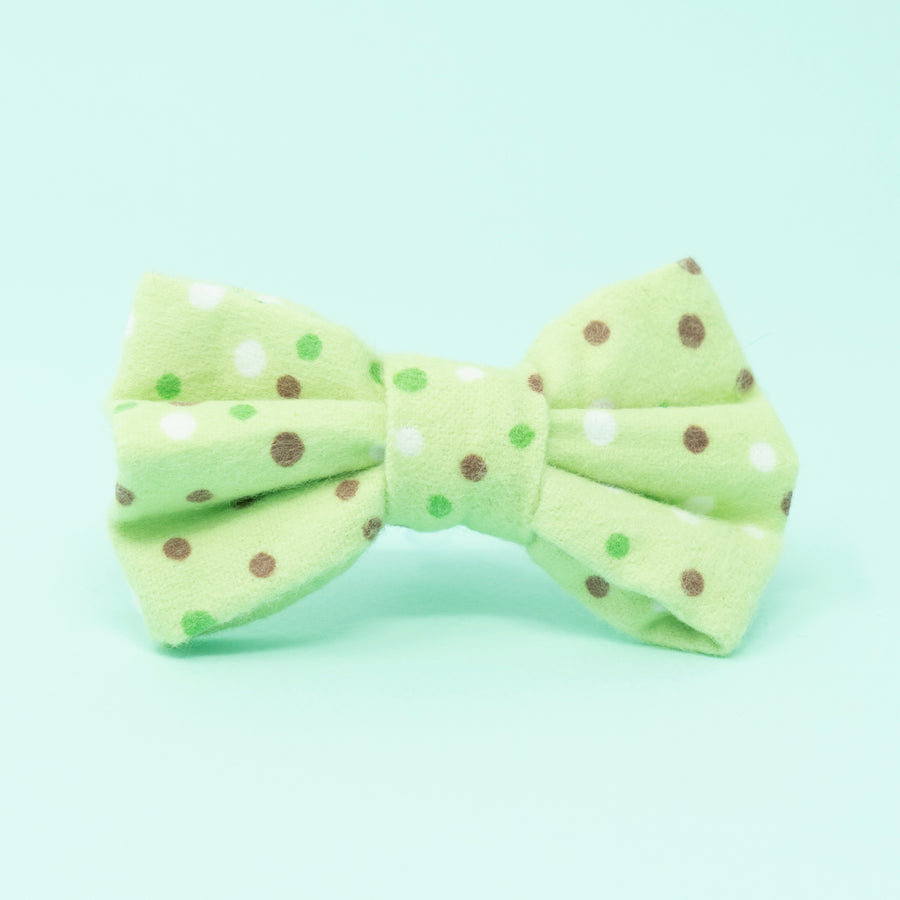 Green with Brown/White Dots Dog Bow Tie - The Woof Warehouse