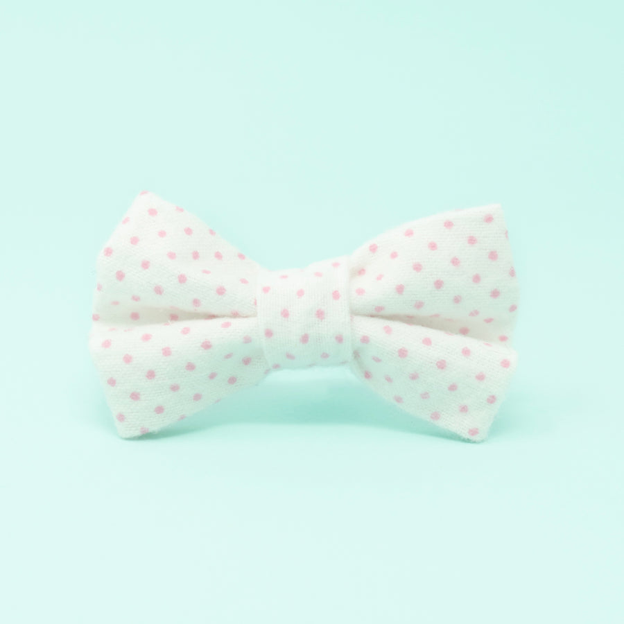 White with Pink Dots Dog Bow Tie - The Woof Warehouse