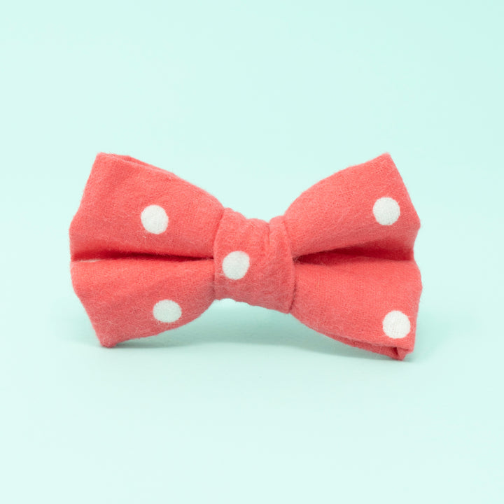 Pink with White Dots Dog Bow Tie - The Woof Warehouse