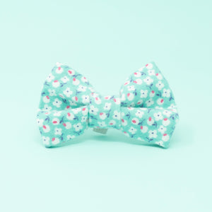 Teal with White Flowers Dog Bow Tie - The Woof Warehouse