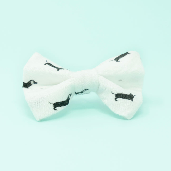 White with Black Doxens Dog Bow Tie - The Woof Warehouse