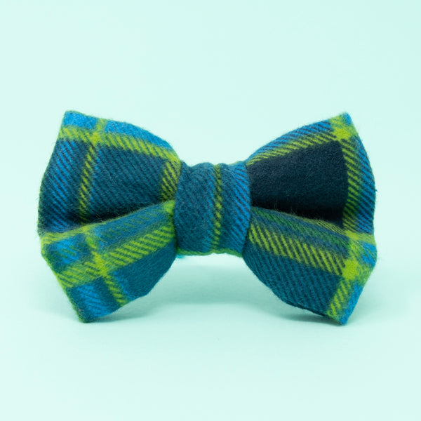 Blue Plaid Dog Bow Tie - The Woof Warehouse