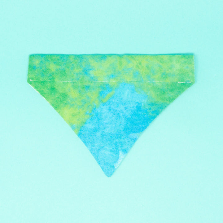 Blue Green Tie Dye Bandana - The Woof Warehouse