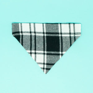 Black and White Plaid Matching Dog Bandana and Human Scarf - The Woof Warehouse