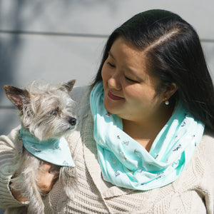 Aqua Silver Mermaids Matching Dog Bandana and Human Scarf - The Woof Warehouse