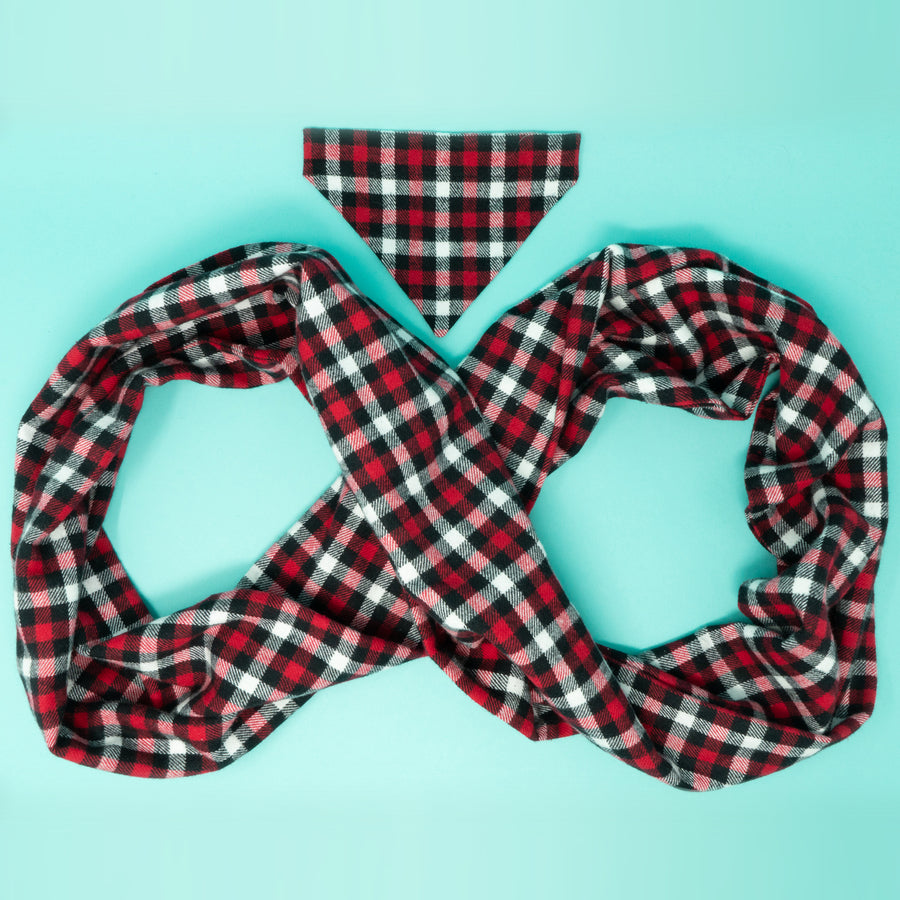 Red, Black, White Plaid Matching Dog Bandana and Human Scarf - The Woof Warehouse