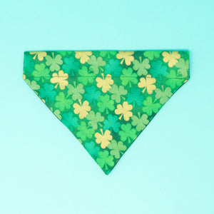 Green and Gold Clovers Saint Patrick's Day Dog Bandana - The Woof Warehouse