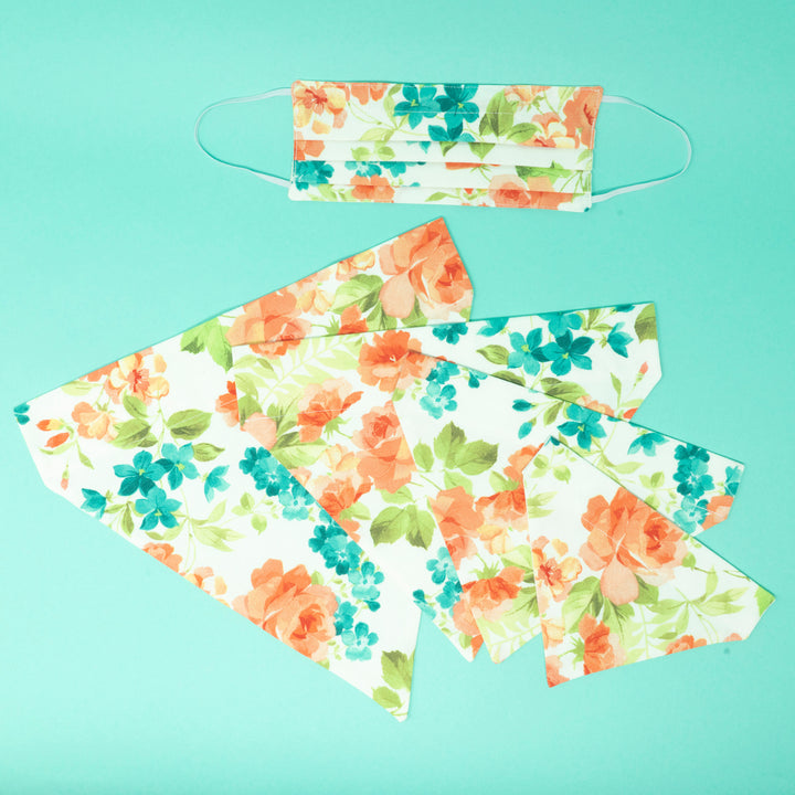 Floral Peach & Mint Matching Face Mask and Dog Bandana - The Woof Warehouse