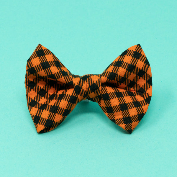Orange and Black Plaid Halloween Bow Tie - The Woof Warehouse