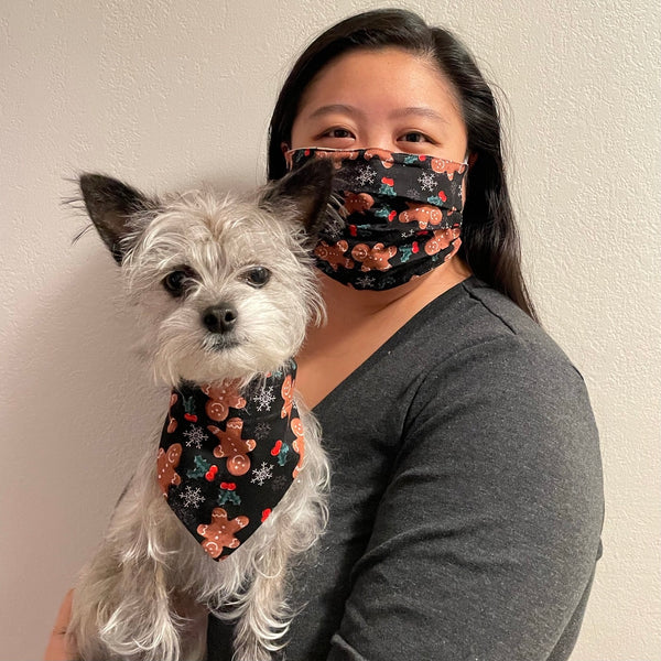 Gingerbread People Matching Face Mask and Dog Bandana - The Woof Warehouse
