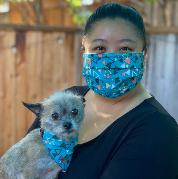 Triangle Teal Matching Face Mask and Dog Bandana - The Woof Warehouse