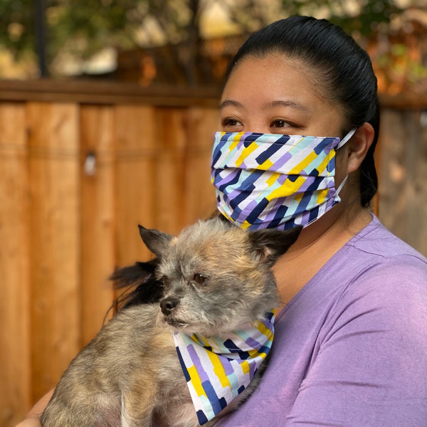 Navy and Purple Matching Face Mask and Dog Bandana - The Woof Warehouse