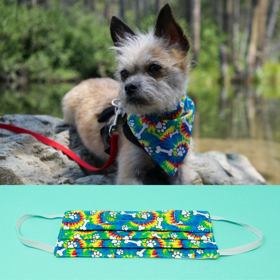 Doggy Tie Dye Matching Face Mask and Dog Bandana - The Woof Warehouse