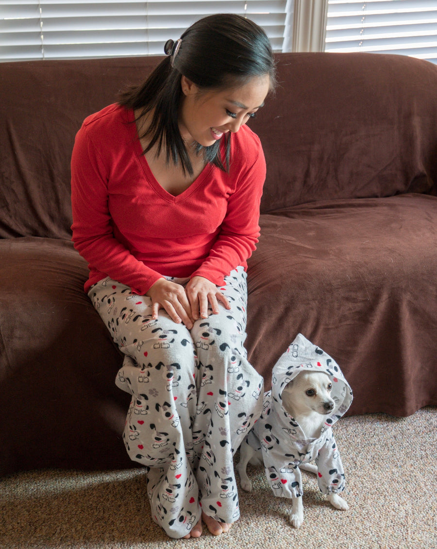 White Polka Dots on Black Pajama Lounge Wear Pants - The Woof Warehouse