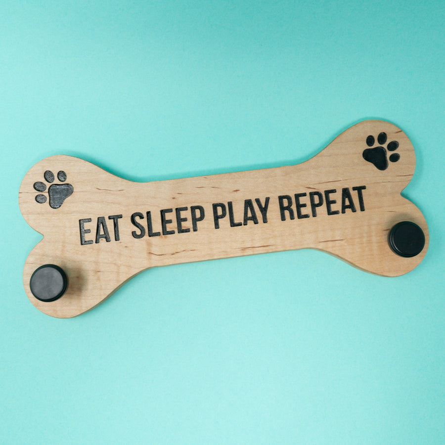 Bone Dog Leash Holder- Eat Sleep Play Repeat - The Woof Warehouse