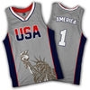 Limited Edition Grey America #1 Basketball Jersey - Greater Half