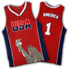 Limited Edition Red America #1 Basketball Jersey - Greater Half