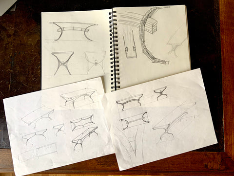 Eric Blanpied Furniture - Arc Trestle Table Sketches
