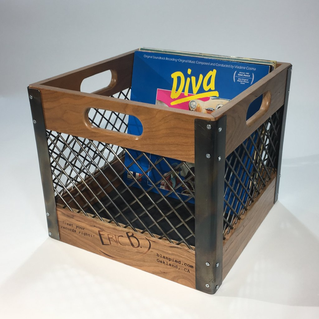 Eric Blanpied Furniture - Record Crate Prototype, Cherry & Steel