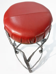 Eric Blanpied Furniture - X Stool, Steel / Leather / Walnut - Top View