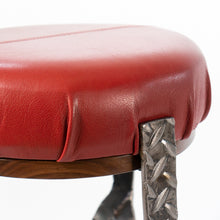 Eric Blanpied Furniture - X Stool, Steel / Leather / Walnut - Top Detail