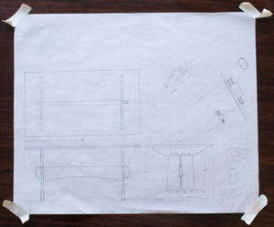 Eric Blanpied Furniture - Trestle Table, Dark Oak - Sketches