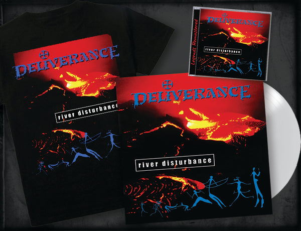DELIVERANCE - RIVER DISTURBANCE (Legends Remastered) (*NEW-CD + White Vinyl + T-shirt, 2018, Retroactive Records)