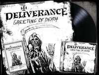 "DELIVERANCE - GREETING OF DEATH (*NEW-CD + 12"" VINYL + CASSETTE BUNDLE, 2019, Retroactive Records)"