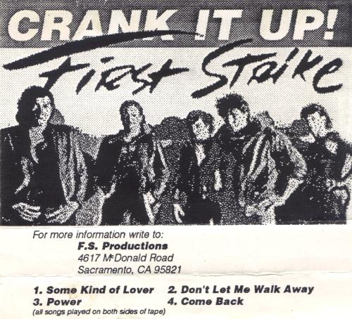 FIRST STRIKE - CRANK IT UP! 1987 Christian rock AOR Metal demo Tape