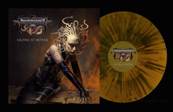 TOURNIQUET - GAZING AT MEDUSA (*BRONZE-SPLATTER VINYL, 2019, Pathogenic Records) ***SIGNED BY TED KIRKPATRICK