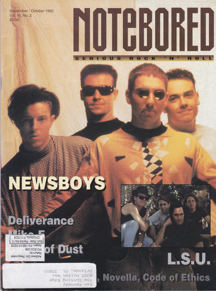 NOTEBORED MAGAZINE SEPT/OCT 1992 VOL. VI, No. 2 NEWSBOYS COVER + DELIVERANCE, CIRCLE OF DUST, NOVELLA, L.S.U.